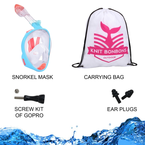 KBB Outdoor 180° View Panoramic Full Face Snorkel Mask-Kids Peach