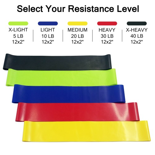 KBB Outdoor Fitness Set of 5 Exercise Resistance Bands & 2 Gliding Discs